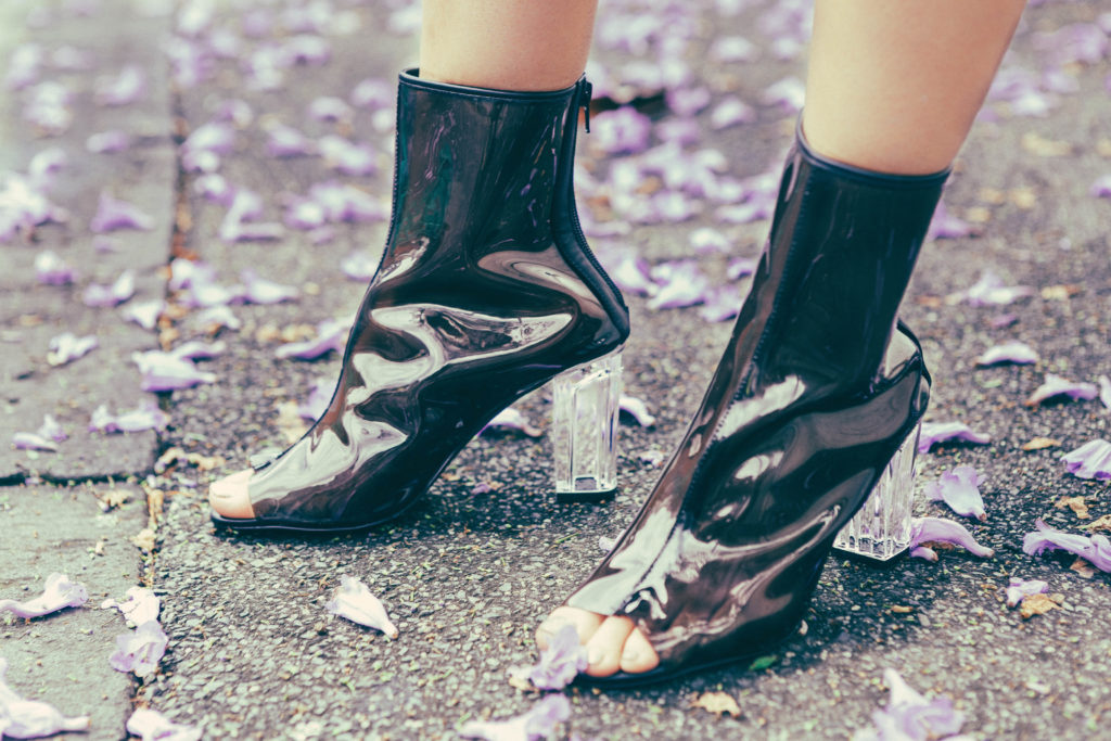 Clear transparent heel boots